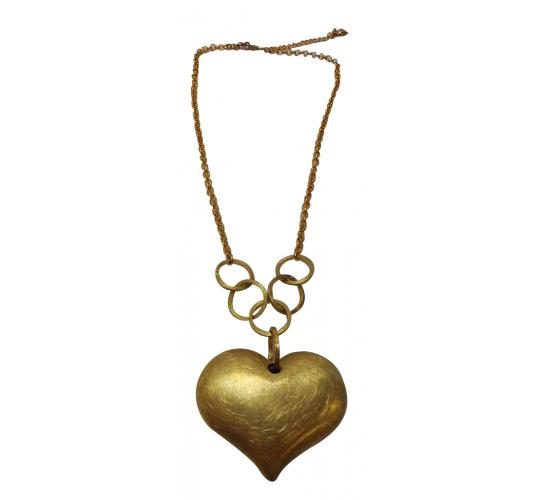 Design Six Scrathed Gold Heart Necklace