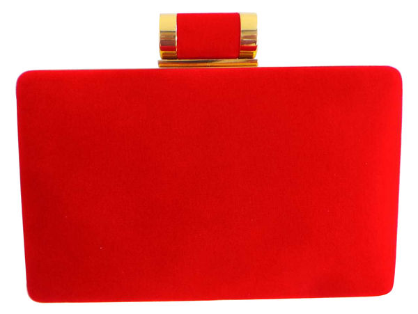 Madame Posh Red Velvet Clutch Bag